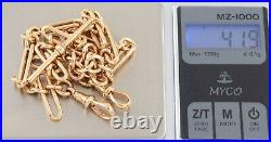 Antique 9Ct Gold Baton And Round Link Double Albert Watch Chain 15 3/4'