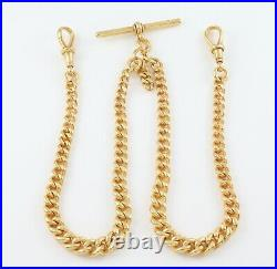 Antique 9Ct Gold Graduated Double Albert Watch Chain / Necklace 17 1/8'