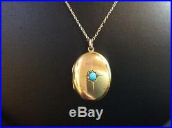 Antique 9Ct Gold Locket withTurquoise Stone, 18inch Necklace Chain, HM Bham 1909