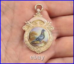 Antique 9Ct Rose Gold And Enamel Pigeon Fob Medal For Watch Chain