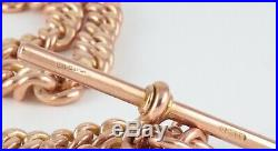 Antique 9Ct Rose Gold Double Albert Watch Chain / Necklace 17 3/4'
