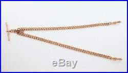Antique 9Ct Rosey Gold Double Albert Watch Chain / Necklace 43.9grams