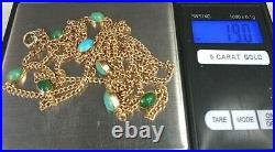 Antique 9ct Gold 40 Guard or Muff Chain Cabochon Turquoise Set SUPERB CONDITION