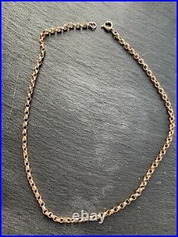 Antique 9ct Gold Barrel Link Necklace Chain