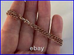 Antique 9ct Gold Bracelet Made From Albert Pocket Watch Chain Dog Clip Fastener