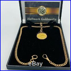 Antique 9ct Gold Double Albert Watch Chain T-Bar & 22ct Gold Full Sovereign #731