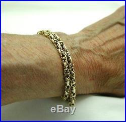 Antique 9ct Gold Double Row Fancy Link Guard Chain Bracelet