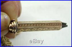 Antique 9ct Gold Fancy Engraved Universal Watch Key Fob And Chain