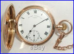 Antique 9ct Gold Full Hunter Pocketwatch & 9ct Chain Boxed GWO Heavy 127.3g