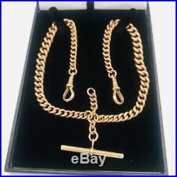 Antique 9ct Gold Graduated Link Double Albert Watch Chain & T Bar 57.9g #513