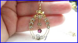 Antique 9ct Gold Ruby & Seed Pearl Lavaliere Pendant with Antique 9ct Gold Chain