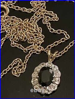 Antique 9ct Gold Sapphire & Real Diamond Pendant With 19 Belcher Chain Necklace