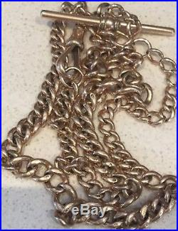 Antique 9ct Rose Gold Albert Watch Chain Necklace Long & Heavy