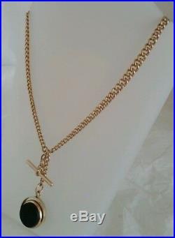 Antique 9ct Yellow Gold Albert watch chain. C1905. Fob by G E Walton & Co. Ltd