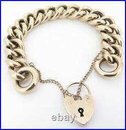 Antique 9ct Yellow Gold Curb link Bracelet With Heart Shaped Padlock C. 1900s
