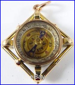 Antique 9ct gold fob with a compass and bloodstone for a watch chain or pendant