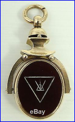 Antique 9ct gold hardstone set Masonic swivel watch chain fob