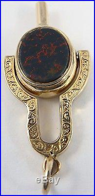 Antique 9ct gold stone set swivel fob with watch key for watch chain or pendant