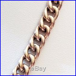 Antique 9ct rose gold cop. Lnd. Polished curb link fob watch chain necklace