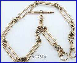 Antique 9ct rose gold fancy pocket watch albert guard chain. Weight 43.6 grams