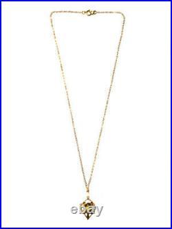 Antique Art Nouveau 9ct Australian Apex Citrine Pendant 14ct Gold Chain Necklace