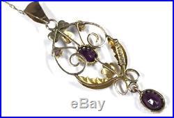 Antique Art Nouveau 9ct Gold Lavaliere Amethyst Pearl Pendant & Chain Necklace