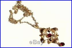 Antique Art Nouveau 9ct Gold Lavaliere Garnet Pendant & Chain Necklace