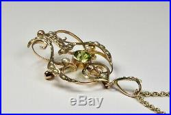 Antique Art Nouveau 9ct Gold Peridot & Seed Pearl Pendant/Brooch & Chain, c1900