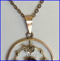 Antique Art Nouveau Arts & Crafts 9ct Gold Pendant & Chain Garnet & Seed Pearl