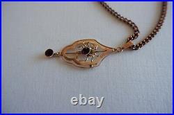 Antique Art Nouveau Period 9ct Gold Insect / Spider Pendant & Chain C1890's