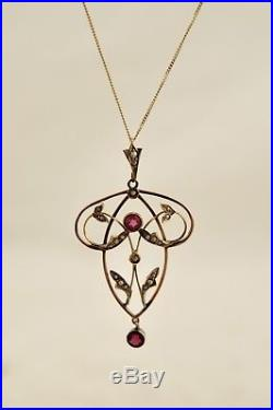 Antique C. 1800s Victorian 9ct 375 Rose Gold Garnet & Seed Pearl pendant & chain