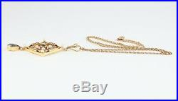 Antique Edwardian 15Ct Gold Pendant With Aquamarine & Pearls On 9Ct Gold Chain