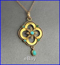 Antique Edwardian 15Ct Gold Pendant With Turquoise & Pearl On 9Ct Gold Chain