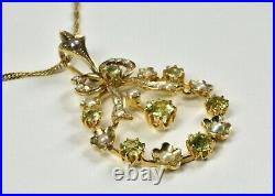 Antique Edwardian 15ct Gold Peridot & Seed Pearl Pendant & 9ct Gold Chain c1905