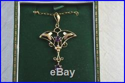 Antique Edwardian 9 ct gold amethyst pendant with chain
