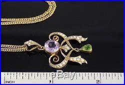 Antique Edwardian 9Ct Gold Suffragette Pendant On Neck Chain c 1911