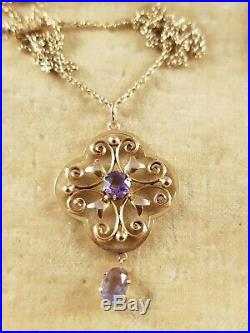 Antique Edwardian 9ct Gold & Amethyst Pendant And Chain Circa 1900