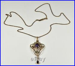Antique Edwardian 9ct Gold Amethyst Seed Pearl Lavaliere Pendant & Chain, c1905