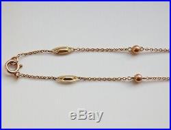 Antique Edwardian 9ct Gold Fancy Link Necklace Chain c1910 46.5cms