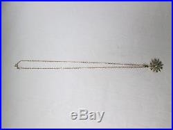 Antique Edwardian 9ct Gold Seed Pearl And Turquoise Star Pendant With 9ct Chain
