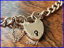 Antique Edwardian 9ct Rose Gold Heart Padlock Hollow Curb Bracelet 8 Inch 7g