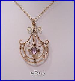 Antique Edwardian Amethyst and Seed Pearl Pendant with Chain in 9ct Gold