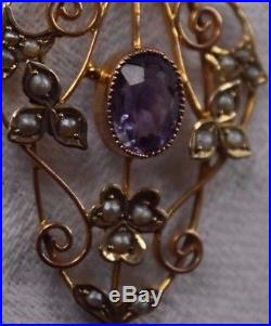 Antique Edwardian Dark Amethyst and Seed Pearl 9ct Gold Pendant. No chain