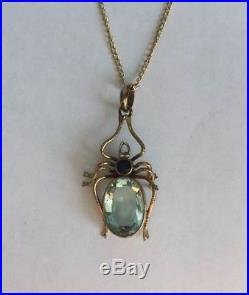 Antique Edwardian Topaz Spider Pendant 9ct Gold Chain