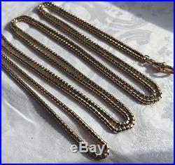 Antique English long guard muff chain In 9ct gold