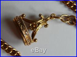 Antique Fully Hallmarked 9ct Solid Gold Curb Watch Chain and 9ct Gold Fob