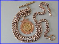 Antique Fully Hallmarked 9ct Solid Gold Curb Watch Chain and 9ct Gold Medal Fob
