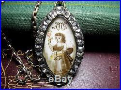Antique Georgian Mourning Pendant Black Dot Paste Pinchbeck 9ct Gold Chain 18c