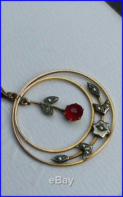 Antique Necklace 9ct Gold 1890 Lavalier Pendant 20 9ct Chain Ruby & Seedpearl