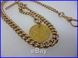 Antique Rose 9ct Gold curb Albert Chain and 22ct Half Soverign Fob c. 1914 41.7g